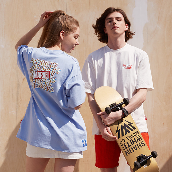 어벤저스 박스핏 반팔 티셔츠